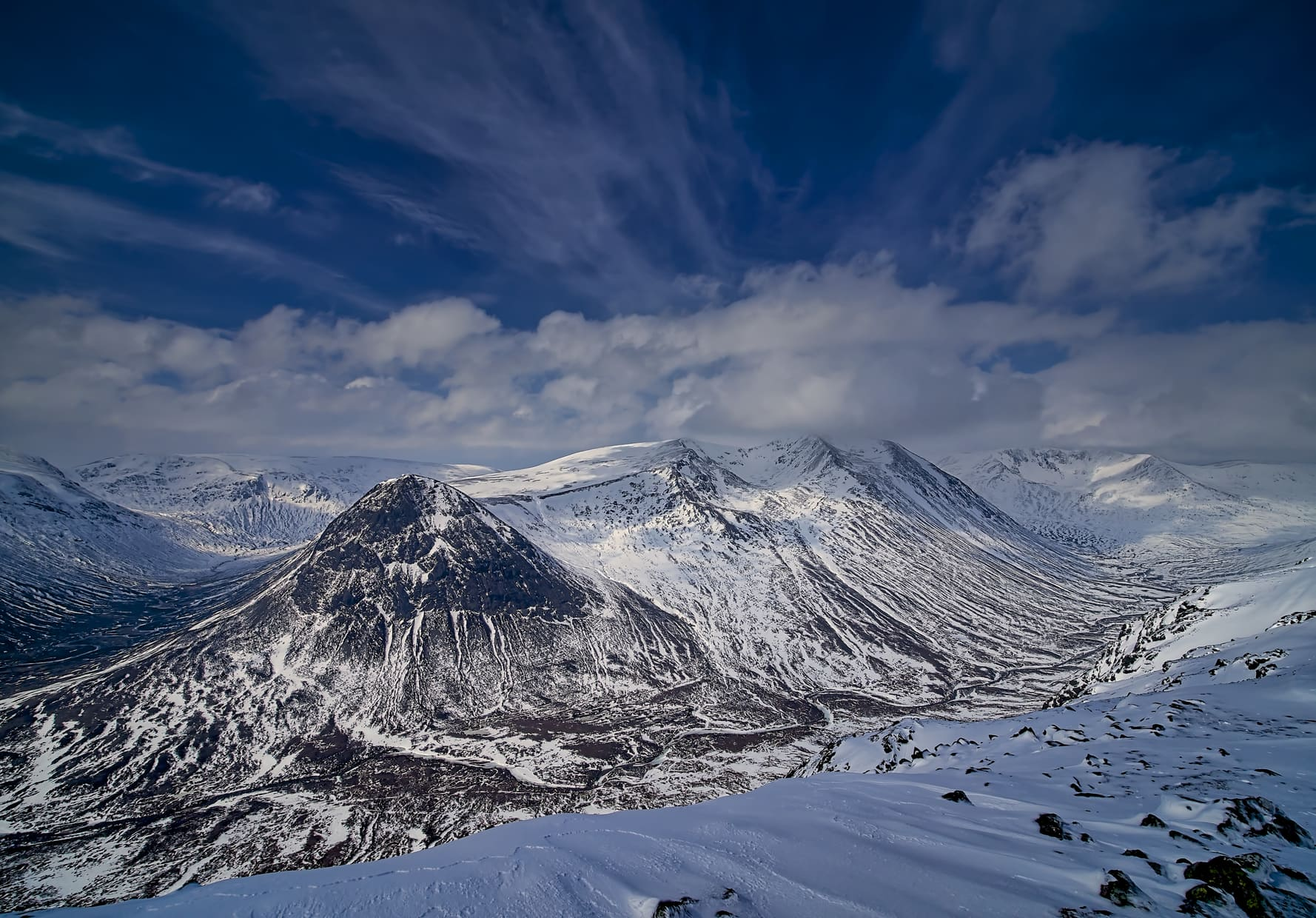 The Lairig Ghru from the summit of Carn a'Mhaim. The Cairngorms, Scotland