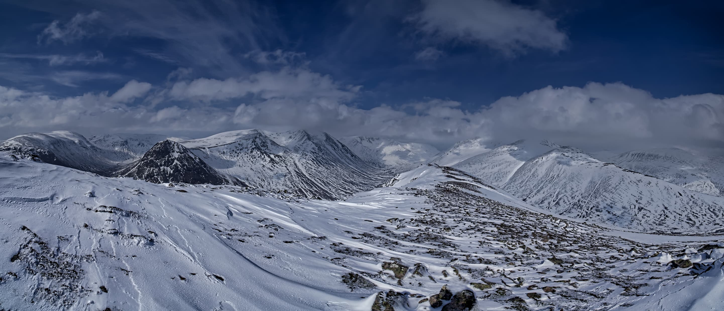Lairig Ghru panorama from the summit of Carn a'Mhaim. The Cairngorms, Scotland